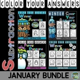 Color By Number Winter Subtraction Color By Code Bundle For January