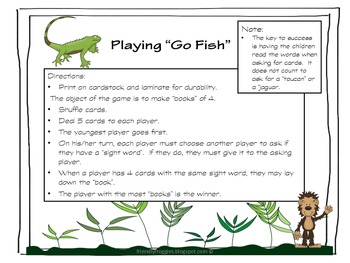 Literacy Center Game - Rainforest Go Fish - Dolch list 8