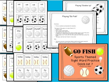 Literacy Center Game - Sports Theme - Dolch Words - Word Work
