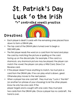 """Literacy Center Game - St. Patrick's Day - """"R"""" controlled Vowels Word Work"""