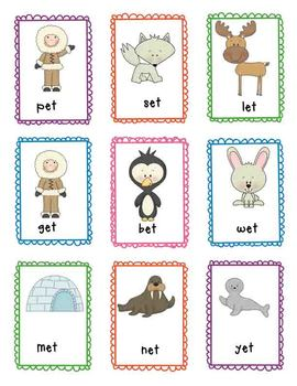 "Literacy Center Game - Winter Literacy Center Arctic Freeze ""Short E Word Work"""