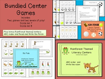Literacy Center Games - Bundled Rainforest and Sports Theme with Bonus Centers