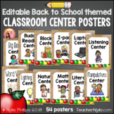 Center Labels - 54 Editable Poster Sized Classroom Labels