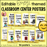 Editable Center Labels - 54 Poster Sized Classroom Labels for Stations - Emoji