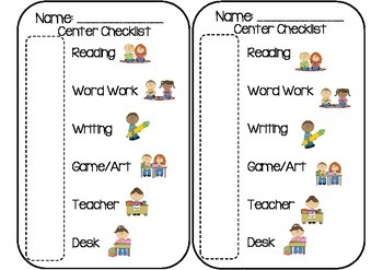 Center Labels and Student Checklist Card