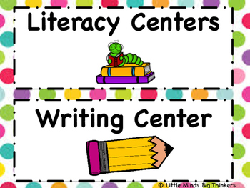 Center Signs for Classroom - Polka Dot Theme