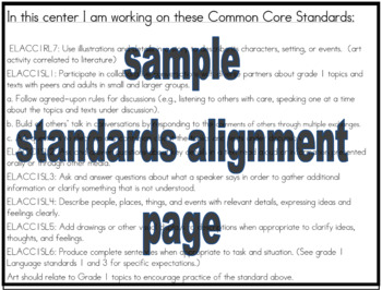 Center Labels for First Grade with Common Core Standards