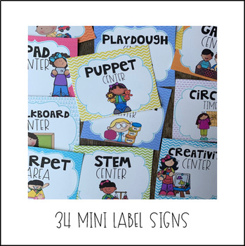 Center Labels for Preschool (I Am Statements)