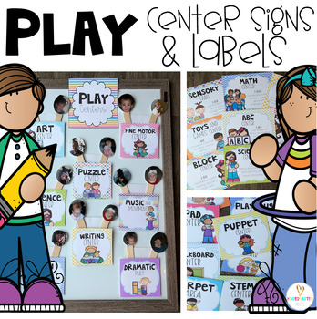Center Labels for Preschool (I Am Statements) for Play and Academic Wall Signs