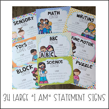 Center Labels for Preschool (I Am Statements) & Play Center Rotation Signs