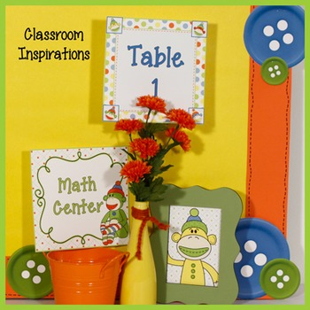 Center Labels or Signs – Editable – Coordinates with Sock Monkey Classroom Theme