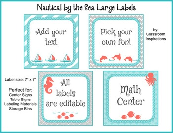 Center Labels or Signs – Editable – Nautical by the Sea Classroom Theme