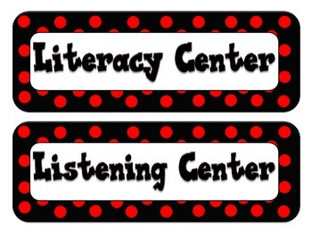 Center Labels/Tags - Dot Themed - Red and Black