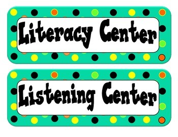 Center Labels/Tags - Dot Themed - Teal with Orange, Lime Green, Black and Yellow