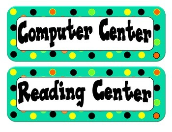 Center Labels/Tags - Dot Themed - Teal with Orange, Lime G