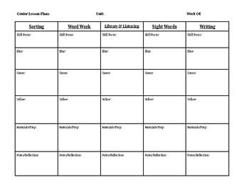 Center Lesson Plan