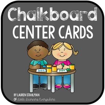 Center & Literacy Station Cards - Chalkboard