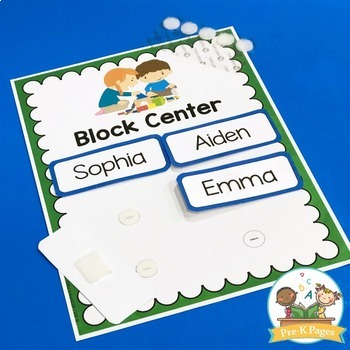 Center Management Signs and Cards for Preschool - Editable