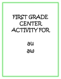 "Center Matching Game: ""au"" and ""aw"""