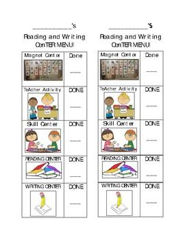 Center Menu for Reading & Writing!