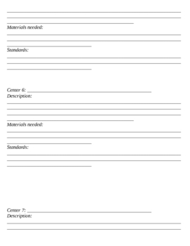 Center Planning Forms