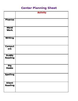 Center Planning Sheet