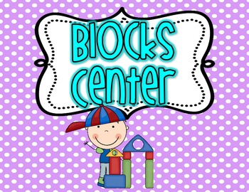 Center Poster/ Signs for your classroom BRIGHT polka Dot