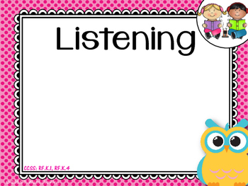 Center Posters- Kindergarten *Owls*