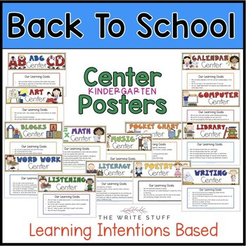 BACK TO SCHOOL ACTIVITIES -Center Posters and Printables for KINDERGARTEN