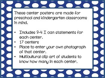 "Center Posters with ""I can statements"" (Royal Blue)"