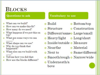 Center Questions and Vocabulary to use
