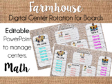 Farmhouse Center Rotation Board (Center Rotation PowerPoint) Math