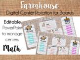 Farmhouse Center Rotation Board (Center Rotation PowerPoint) Math