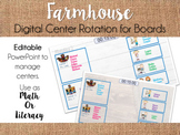 Farmhouse Center Rotation Board (Center Rotation Powerpoint) Math or Literacy