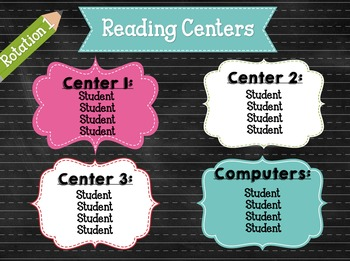 Center Rotation Board Display -ELA and Math EDITABLE