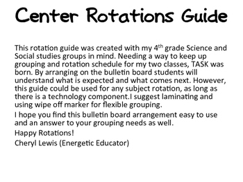 Center Rotation Bulletin Board Guide for leveled grouping