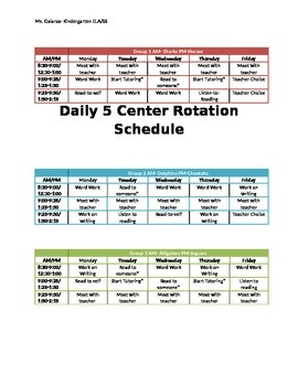 Center Rotation Schedule
