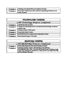 Center Rubric Display Sheets-Printable