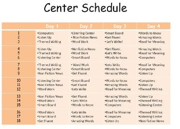 Center Schedule and Task Cards for Reading Street