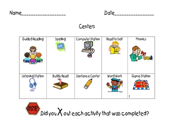 Center Sheet for Students