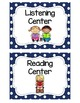 Center Sign Labels in Blue Polka Dot