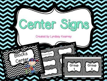 Center Signs - B&W Chevron