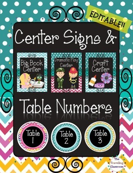 Center Signs &Table Numbers {Chalkboard Chevron Polka Dot Theme} EDITABLE