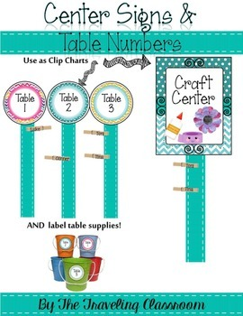 Center Signs {Chevron Polka Dot Theme Classroom Decor}
