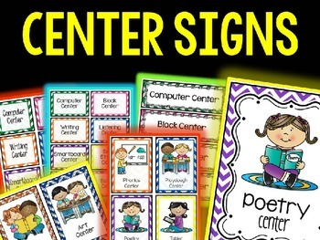 EDITABLE CLASSROOM CENTER SIGNS