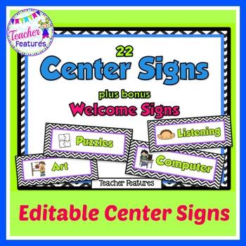 Editable Center Signs: Black & White Chevron