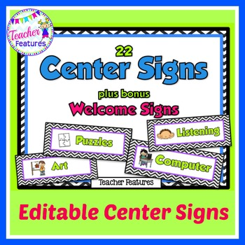 Editable Center Signs: Black & White Chevron