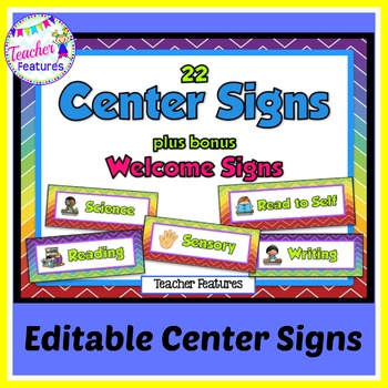 Editable Center Signs: Rainbow Chevron