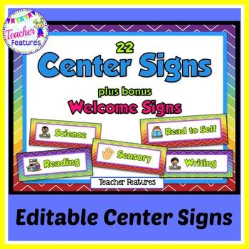 Editable Center Signs: Rainbow Chevron