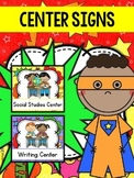 Center Signs for Kindergarten Superhero Theme